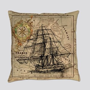 Vintage Map Ship Compass Everyday Pillow