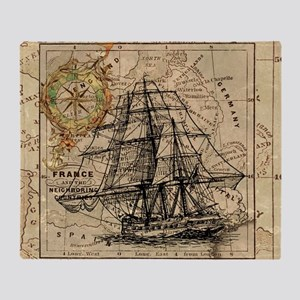 Vintage Map Ship Compass Throw Blanket