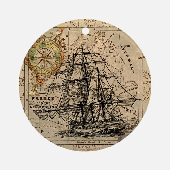 Vintage Map Ship Compass Round Ornament