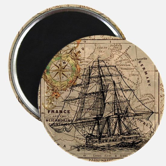 Vintage Map Ship Compass Magnet