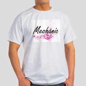 Mechanic Artistic Job Design with Flowers T-Shirt