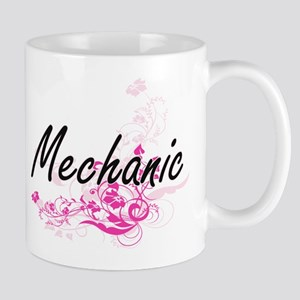Mechanic Artistic Job Design with Flowers Mugs