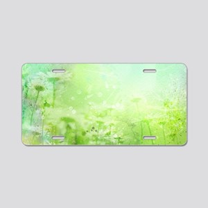 Green Watercolor Floral Aluminum License Plate