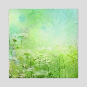 Green Watercolor Floral Queen Duvet