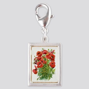 Watercolor Poppies Silver Portrait Charm