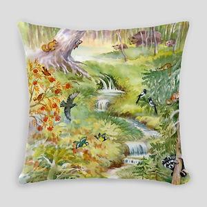Watercolor Summer Scene Everyday Pillow