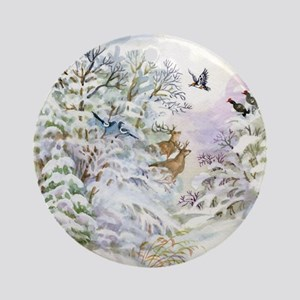 Watercolor Winter Scene Round Ornament