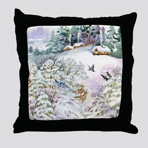 Watercolor Winter Scene Throw Pillow