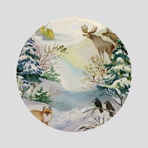 Watercolor Winter Wildlife Round Ornament