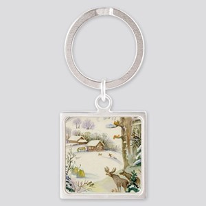 Watercolor Winter Wildlife Square Keychain