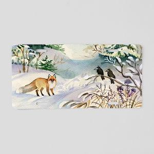 Watercolor Winter Wildlife Aluminum License Plate