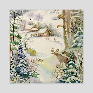 Watercolor Winter Wildlife Queen Duvet