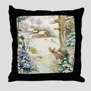 Watercolor Winter Wildlife Throw Pillow