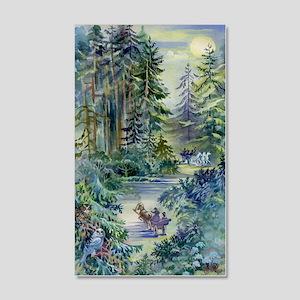 Watercolor Night Scene 20x12 Wall Decal