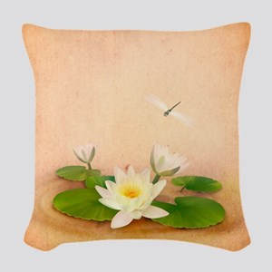 Lotus and Dragonfly Grunge Woven Throw Pillow