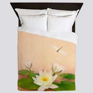 Lotus and Dragonfly Grunge Queen Duvet