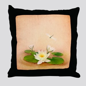 Lotus and Dragonfly Grunge Throw Pillow