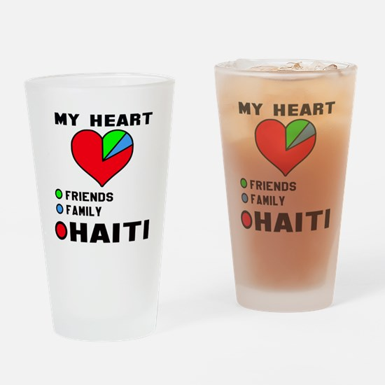 My Heart Friends, Family and Haiti Drinking Glass