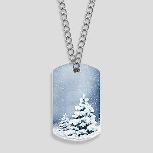 Cute Snowy Pine Trees Dog Tags
