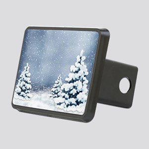 Cute Snowy Pine Trees Rectangular Hitch Cover