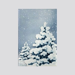 Cute Snowy Pine Trees Rectangle Magnet