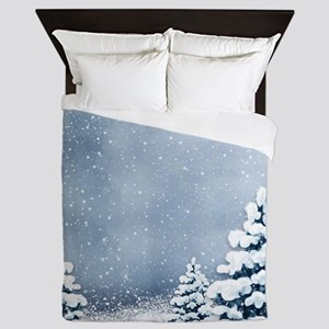 Cute Snowy Pine Trees Queen Duvet