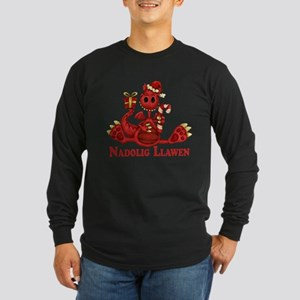 Welsh Dragon Christmas Dark Long Sleeve T-Shirt