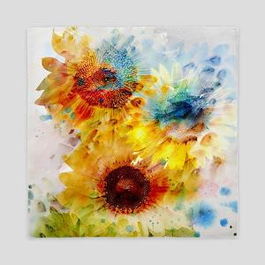 Watercolor Sunflowers Queen Duvet