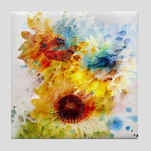 Watercolor Sunflowers Tile Coaster