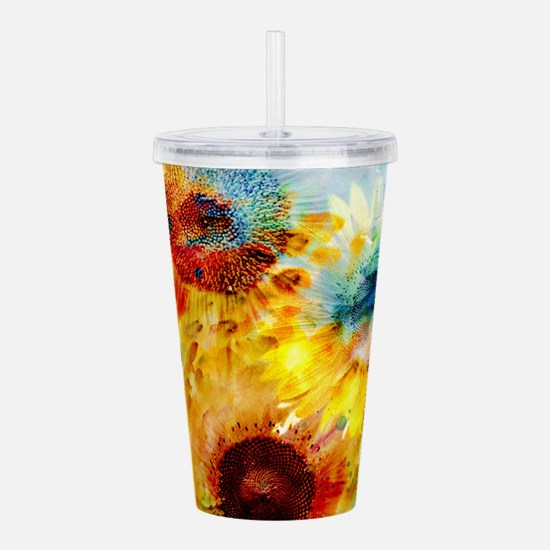 Watercolor Sunflowers Acrylic Double-wall Tumbler