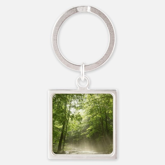 Spring Forest Mist Square Keychain