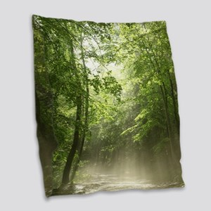 Spring Forest Mist Burlap Throw Pillow