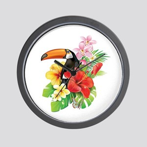 Tropical Toucan Collage Wall Clock