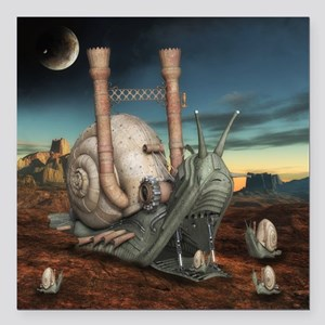 "Surreal Steampunk Snail Square Car Magnet 3"" x 3"""