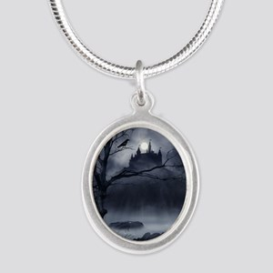 Gothic Night Fantasy Silver Oval Necklace