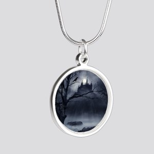 Gothic Night Fantasy Silver Round Necklace