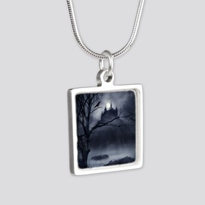 Gothic Night Fantasy Silver Square Necklace