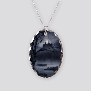 Gothic Night Fantasy Necklace Oval Charm