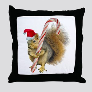 Squirrel Candy Cane Throw Pillow