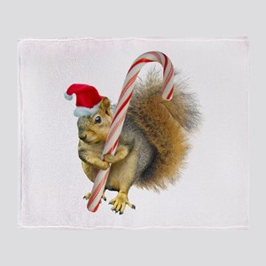 Squirrel Candy Cane Throw Blanket
