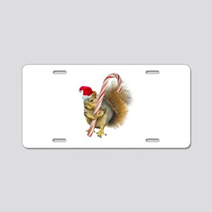 Squirrel Candy Cane Aluminum License Plate