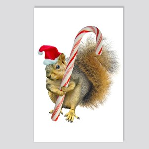 Squirrel Candy Cane Postcards (Package of 8)