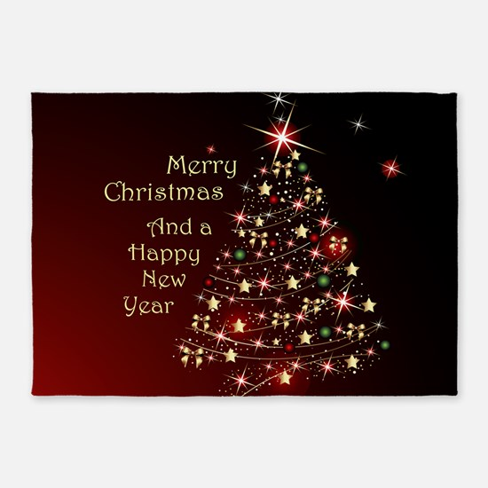 Christmas Tree And Wishes 5'x7'Area Rug