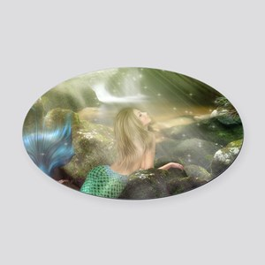 Mermaid Cave Oval Car Magnet