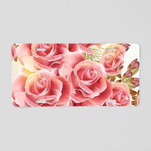 Artistic Pink Roses Aluminum License Plate
