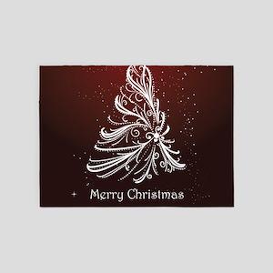 Christmas Tree And Wishes 5'x7'Area Rug