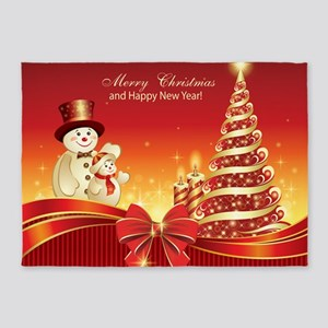 Christmas Wishes,Snowman And Candle 5'x7'Area Rug