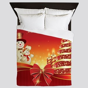 Christmas Wishes,Snowman And Candle Queen Duvet