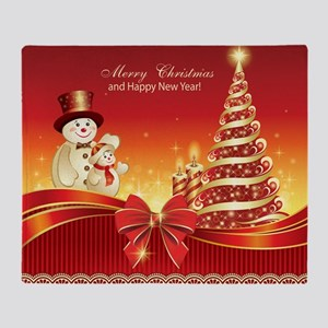 Christmas Wishes,Snowman And Candle Throw Blanket