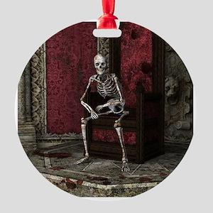 Gothic Waiting Skeleton Round Ornament